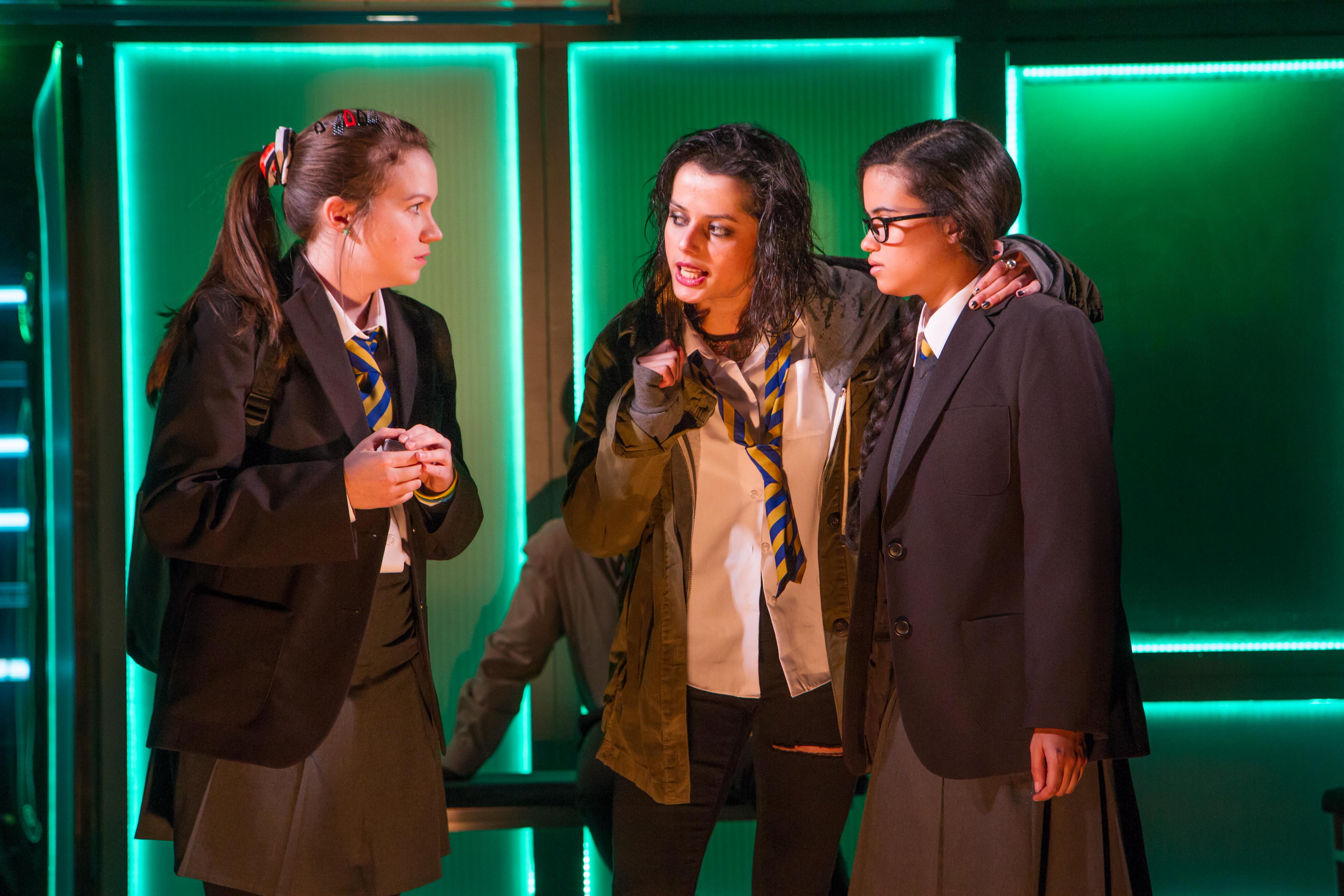 The Chronicles of Kalki at the Gate Theatre. Angela Terence (Girl One), Amrita Acharia (Kalki), Jordan Loughran (Girl Two). Photo credit - Helen Murray (4)