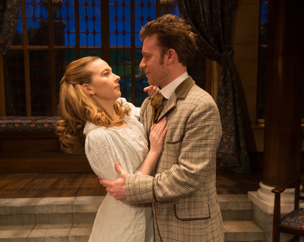 Imogen Doel as Cecily and Philip Cumbus as Algernon in The Importance of Being Earnest