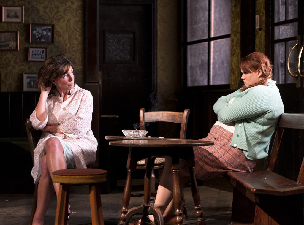 Sally Rogers (Alice) and Bronwyn James (Shirley) in Hangmen by Martin McDonagh directed by Matthew Dunster Credit Simon Annand.jpg