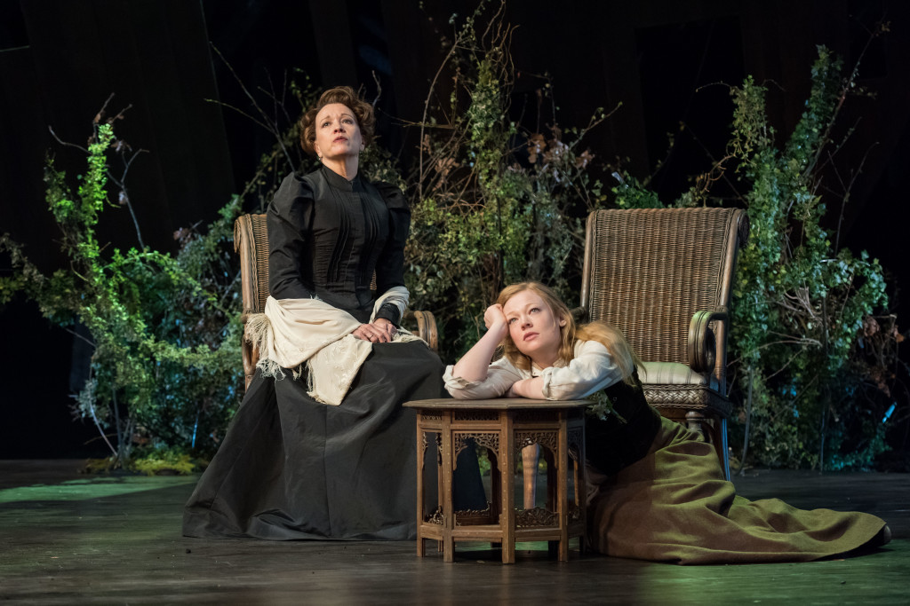 Linda Emond (Aline Solness) and Sarah Snook (Hilde Wangel) in The Master Builder at The Old Vic. Photos by Manuel Harlan.