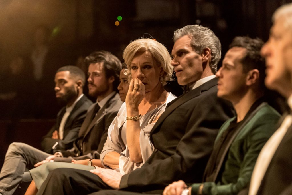 Juliet Stevenson and Angus Wright watch with Andrew Scott