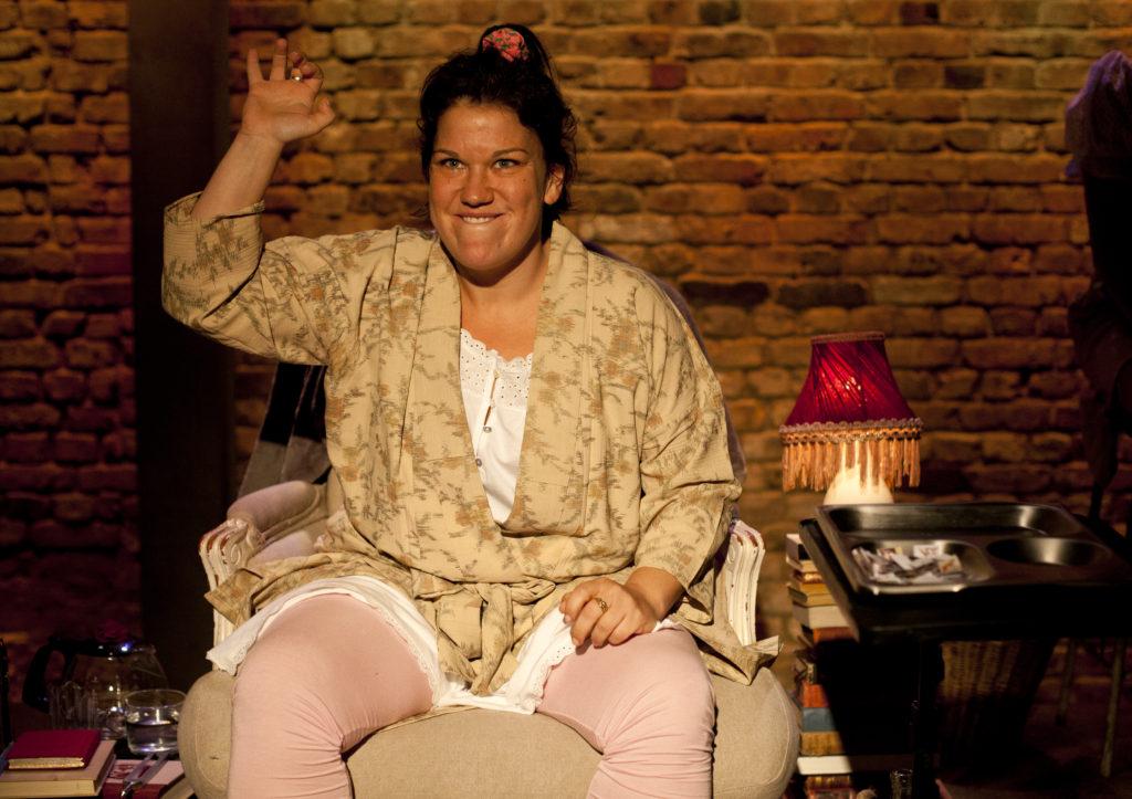 Beverly Rudd as Irene in Anna Bella Eema at the Arcola Theatre