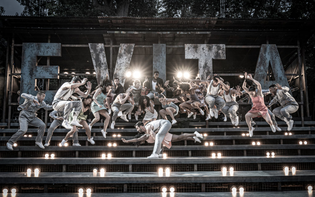 Samantha Pauly as Eva Perón and Company in 'Evita' at Regent's Park Open Air Theatre