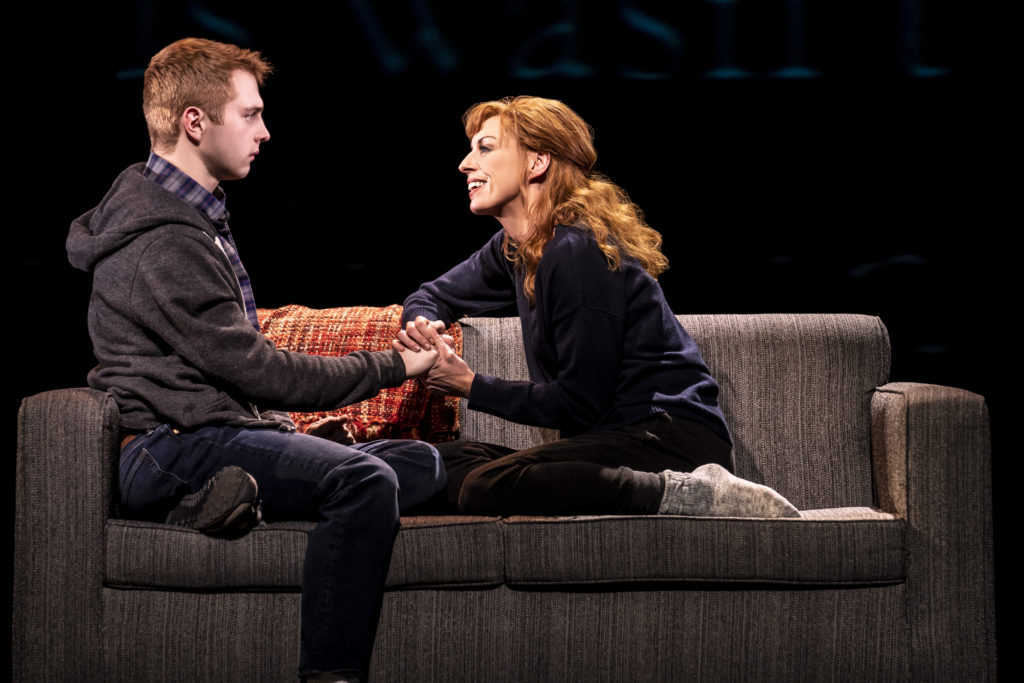 Sam Tutty and Rebecca McKinnis in the London production of 'Dear Evan Hansen'