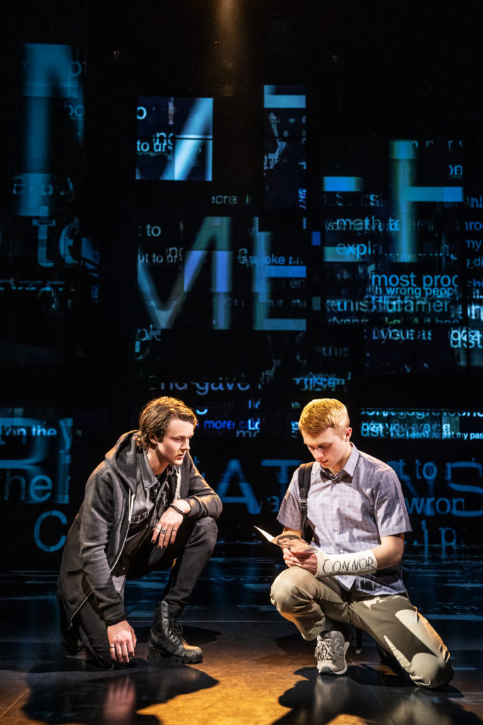 "Doug Colling and Sam Tutty in the London production of ""Dear Evan Hansen"""