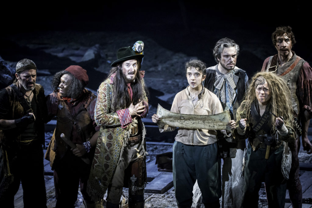 Arthur Darvill and Patsy Ferran in Treasure Island at the National Theatre photo by Johnan Persson