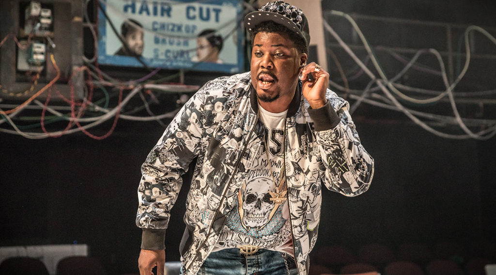 Hammed Animashau in Barber Shop Chronicles at the National Theatre (c) Marc Brenner
